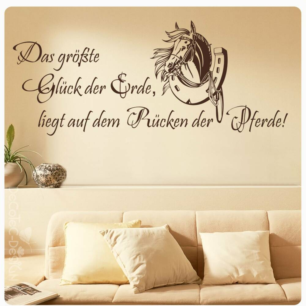 w460 pferde zitat wandtattoo gl ck pferd kinderzimmer ebay. Black Bedroom Furniture Sets. Home Design Ideas