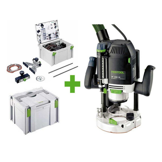 festool oberfr se of 2200 eb set 2 x systainer 574298 mit viel zubeh r of2200 ebay. Black Bedroom Furniture Sets. Home Design Ideas
