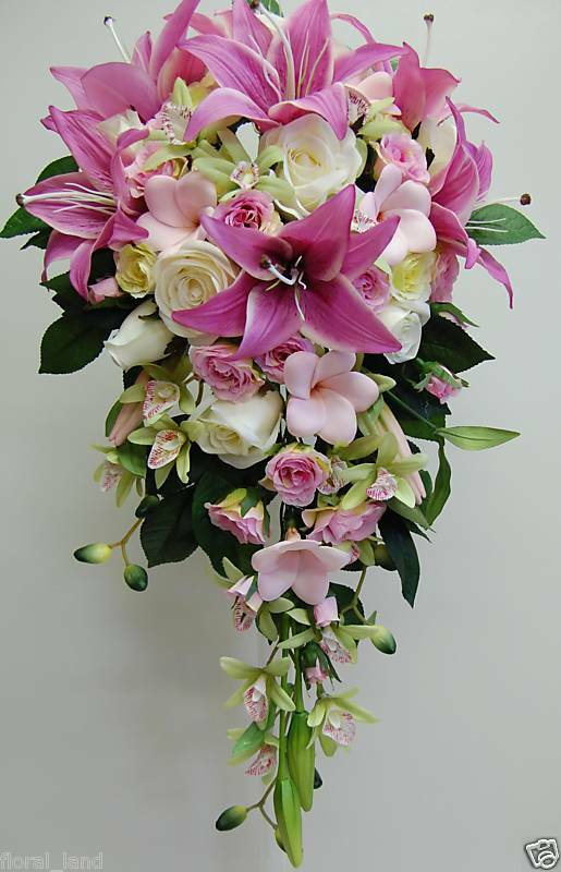 silk orchid wedding bouquets wedding bouquet silk teardrop pink 7411