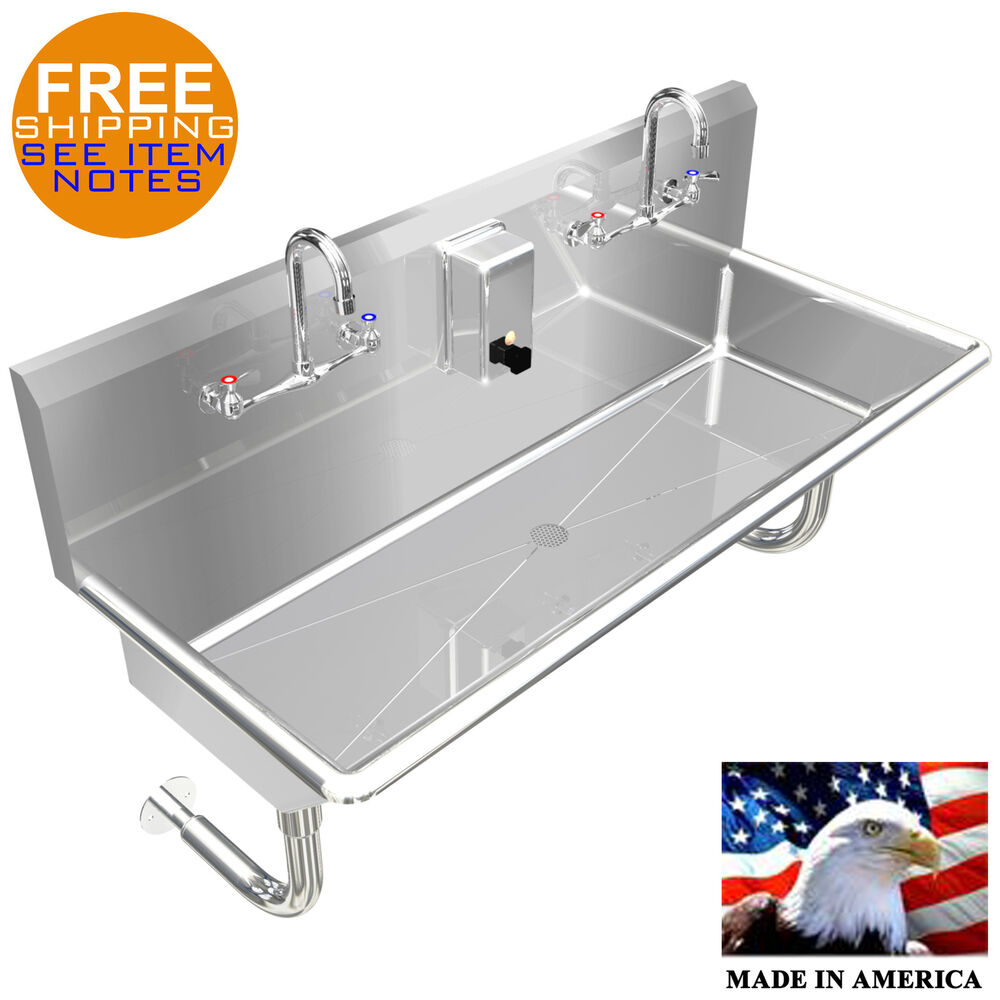 Multiusers 2 Person Hand Sink Basin 40 Quot Manual Faucet