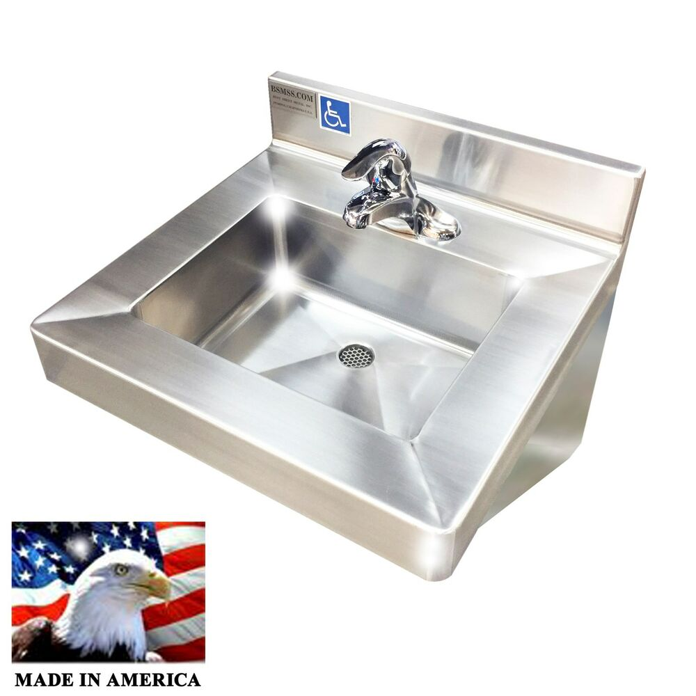 Ada Compliant Wash Up Hand Sink Single Faucet Lavabo Stainless Steel Heavy Duty Ebay