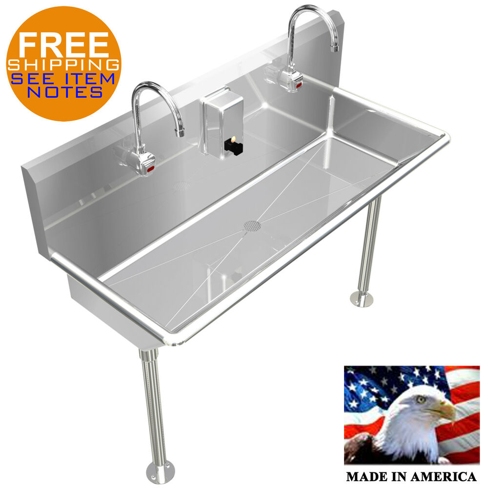 2 Users Multi Station 48 Quot Wash Up Hand Sink Hands Free Ebay