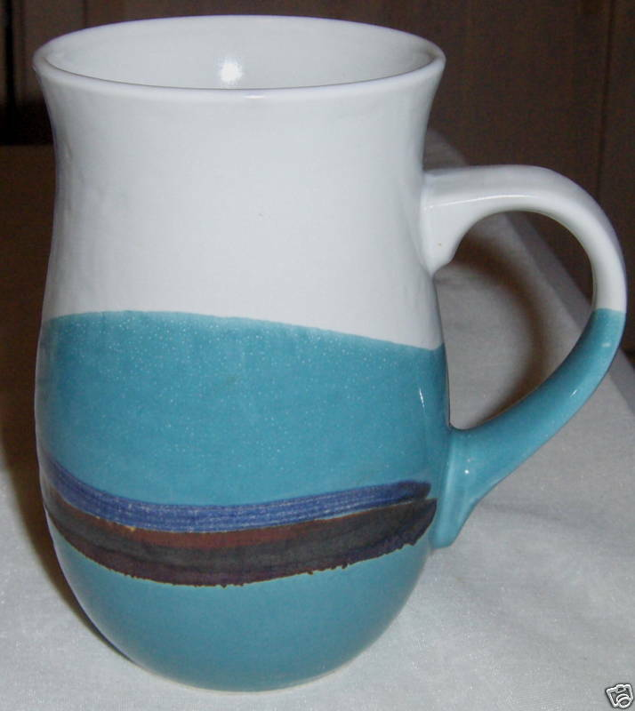 Beautiful Stoneware Coffee Mug White Aqua Brown Blue Ebay