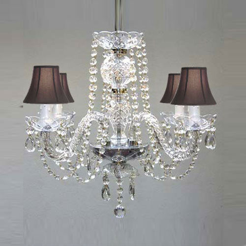 Swarovski Crystal Dollhouse Chandelier: CHANDELIER DRESSED W/SWAROVSKI CRYSTAL BLACK SHADES!