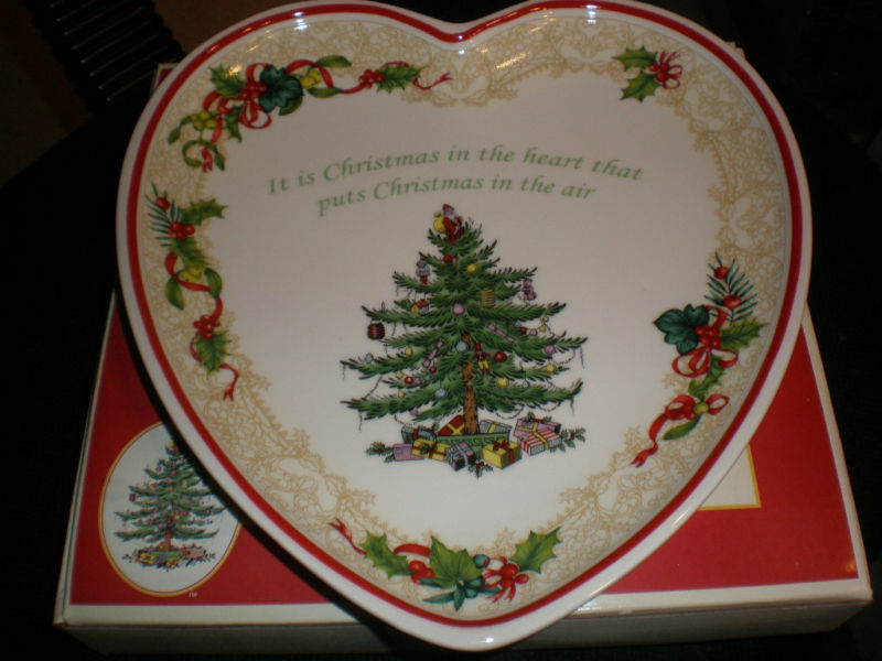 SPODE CHRISTMAS TREE BLESS THIS HOME HEART TRAY