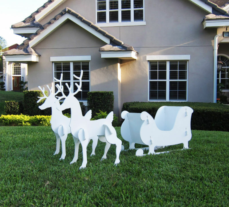 Santa Claus Lawn Decorations: Christmas Outdoor Santa Sleigh And 2 Reindeer Set