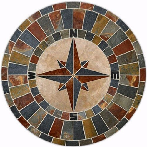 Compass Floor Tile : Natural slate compass rose design mosaic tile