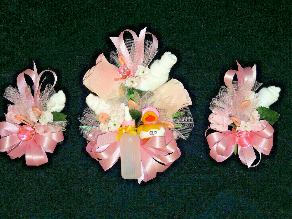baby shower corsage 3 rubber ducky pink ribbons handmade ebay