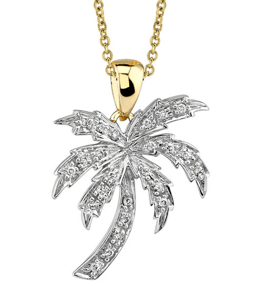 palmtree jewelry new 14k gold palm tree pendant necklace ebay 1665