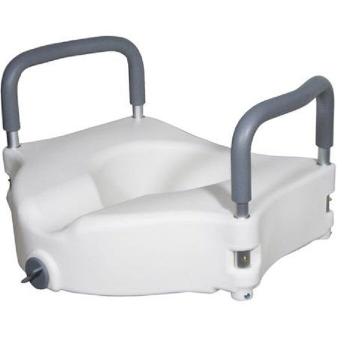 Locking 5 Quot Elevated Toilet Seat With Removable Armrests