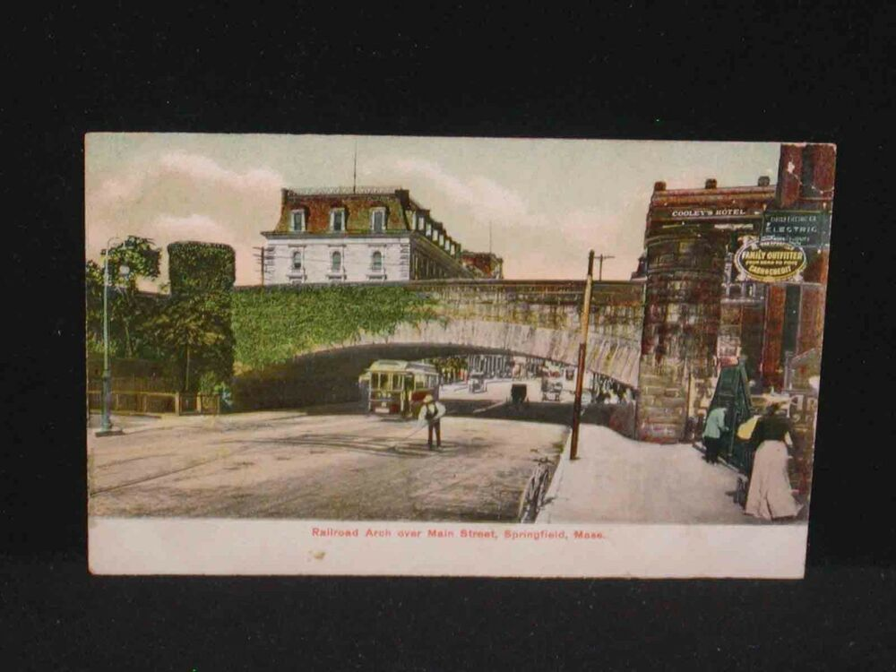 antique postcard railroad arch main st springfield ma ebay. Black Bedroom Furniture Sets. Home Design Ideas