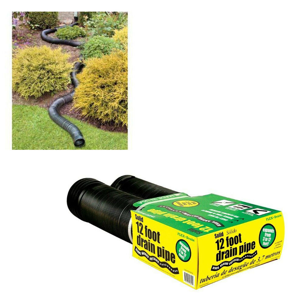 Flex drain 50710 solid corrugated flexible landscape drain for Drain pipe landscaping