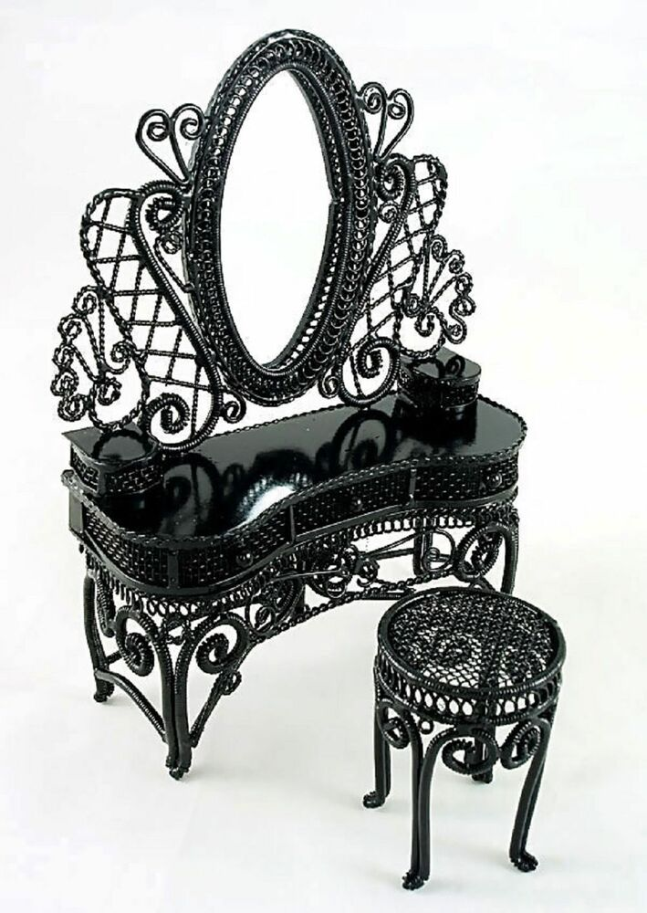 Black Wire Metal Makeup Vanity Chair 1:12 Doll's House