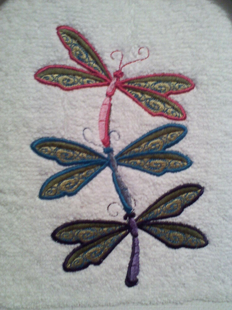 Dragonfly Stack Embroider Bathroom Hand Towel Set Of 2 Ebay