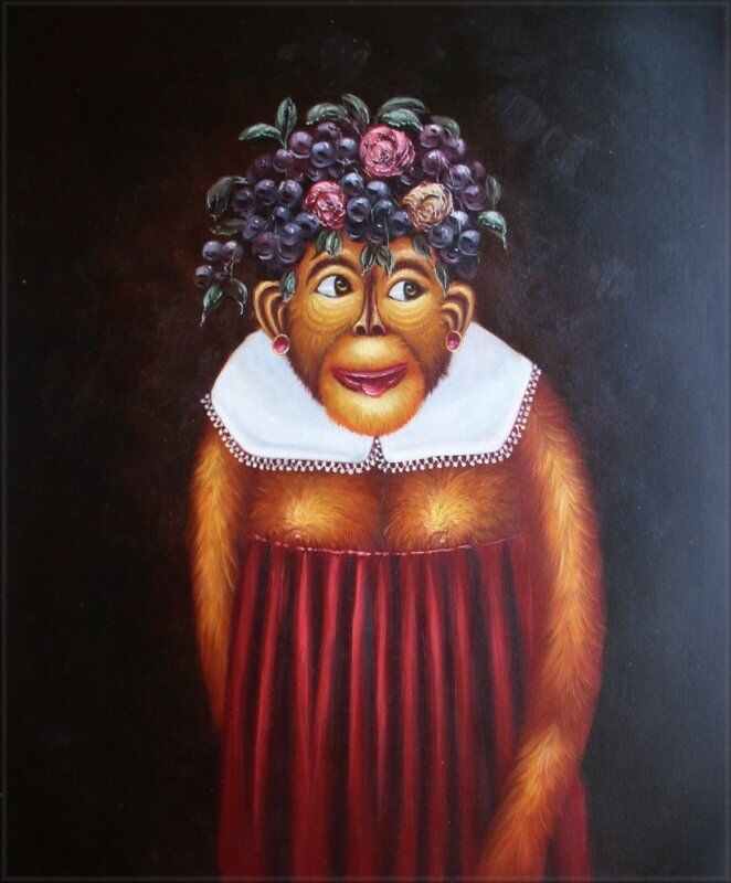Quality hand painted oil painting monkey with red dress for Hand painted portraits from photos