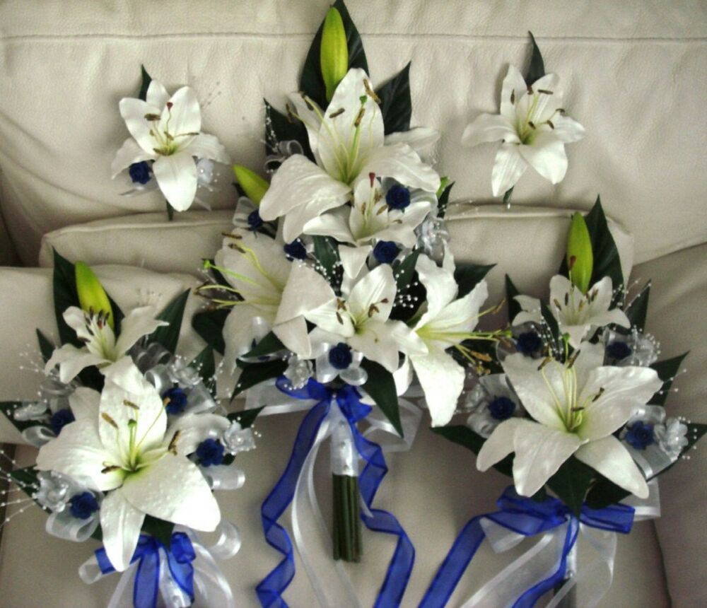 WEDDING BOUQUET SET, REAL TOUCH LILY ROYAL BLUE ROSE