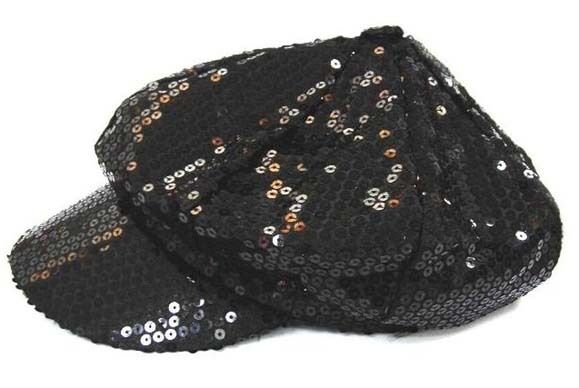 Details about BLACK SEQUIN BASEBALL CAP flashy novelty sparkle hat dance  womens ladies new 49a9ca9d0a6