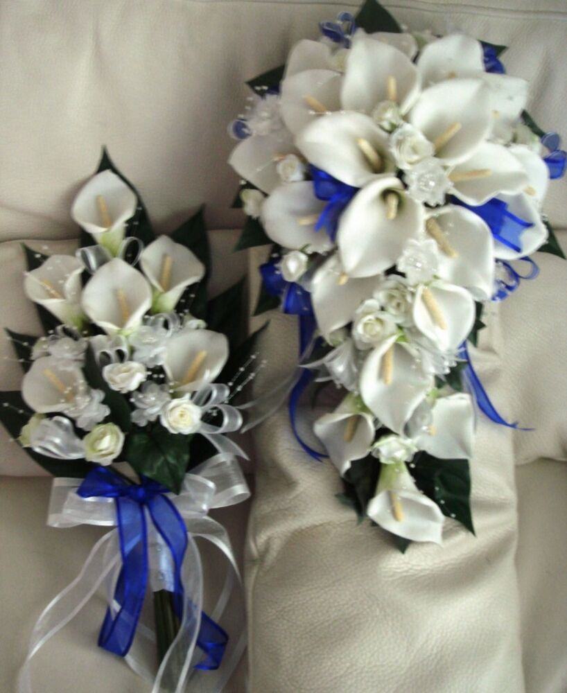WEDDING BOUQUET SET, IVORY CALA LILY/ROYAL BLUE RIBBON