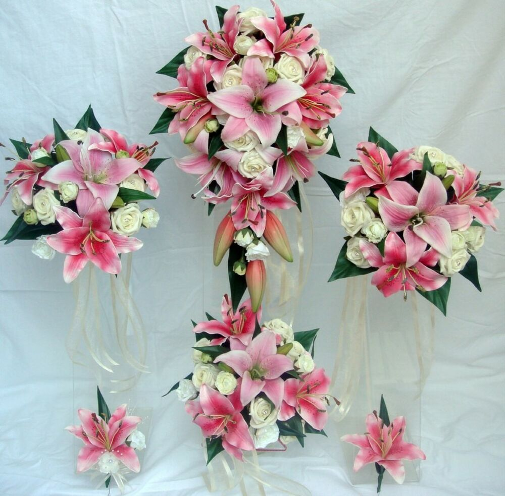 Pink Wedding Flowers: WEDDING BOUQUET SET, REAL TOUCH PINK LILY, IVORY ROSES