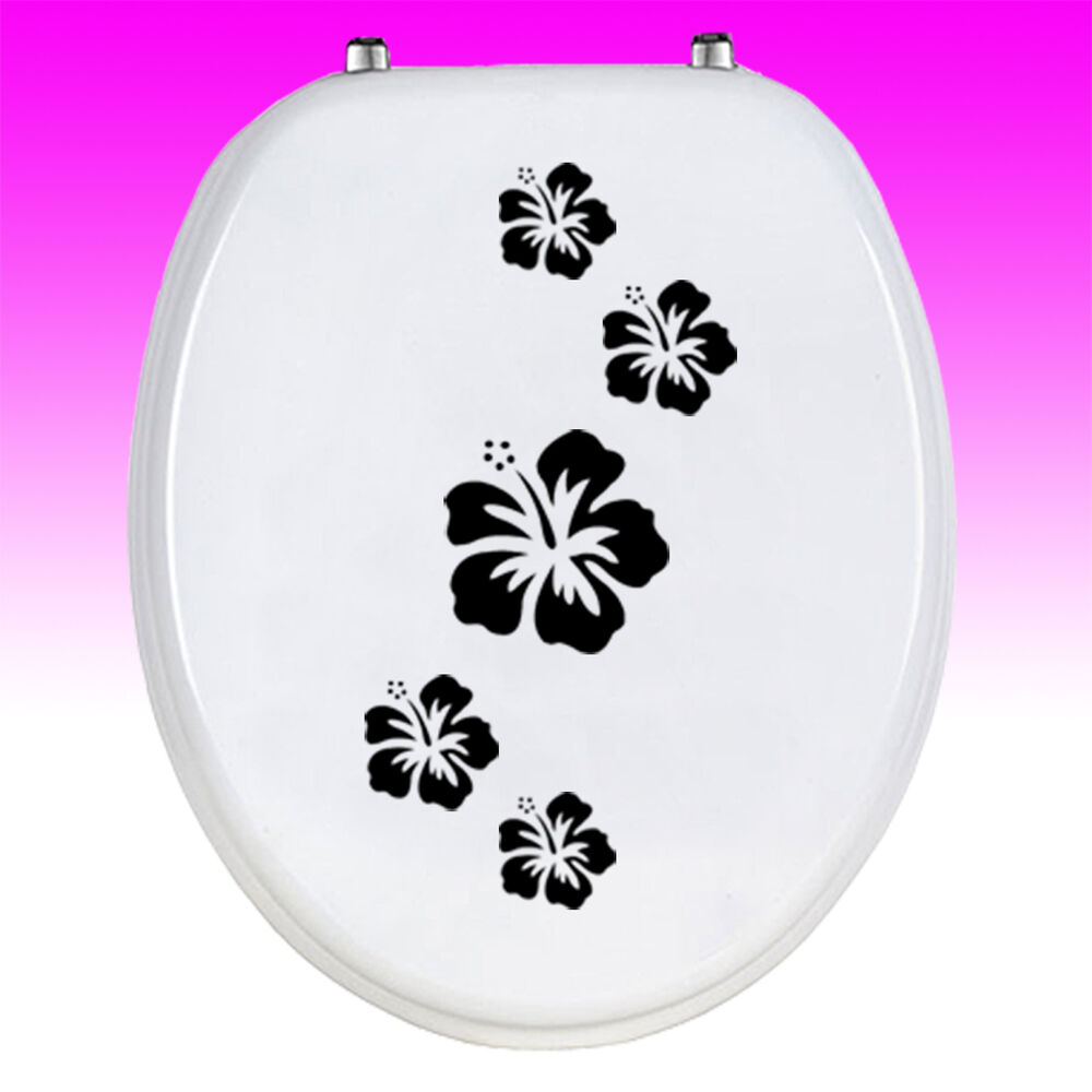 wc deckel aufkleber hibiskus toiletten sticker bad wandtattoo klo wc sitz deko ebay. Black Bedroom Furniture Sets. Home Design Ideas