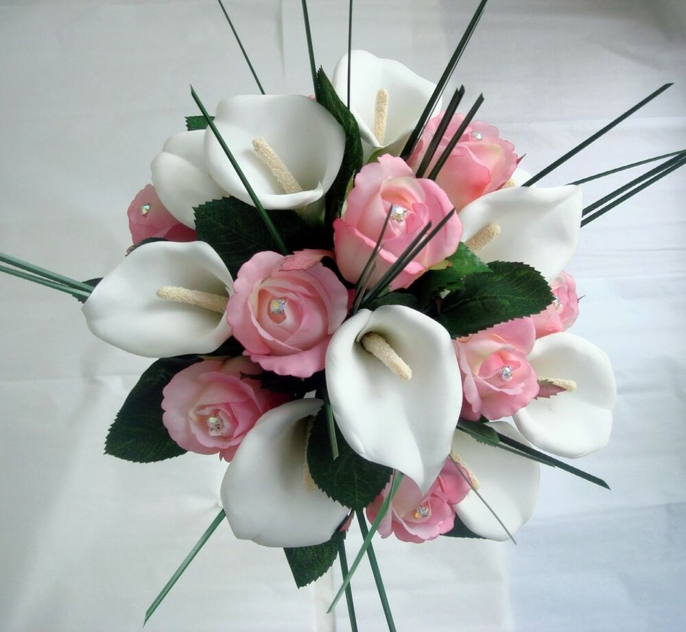 Wedding posy bouquet calla lily pink roses diamante ebay
