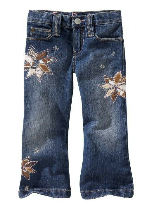 Baby gap kid girl embroidered denim pants jeans t ebay