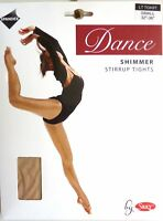 SILKY SHIMMER DANCE TIGHTS Stirrup Foot Light Toast 4 Adult Sizes S, M, L and XL