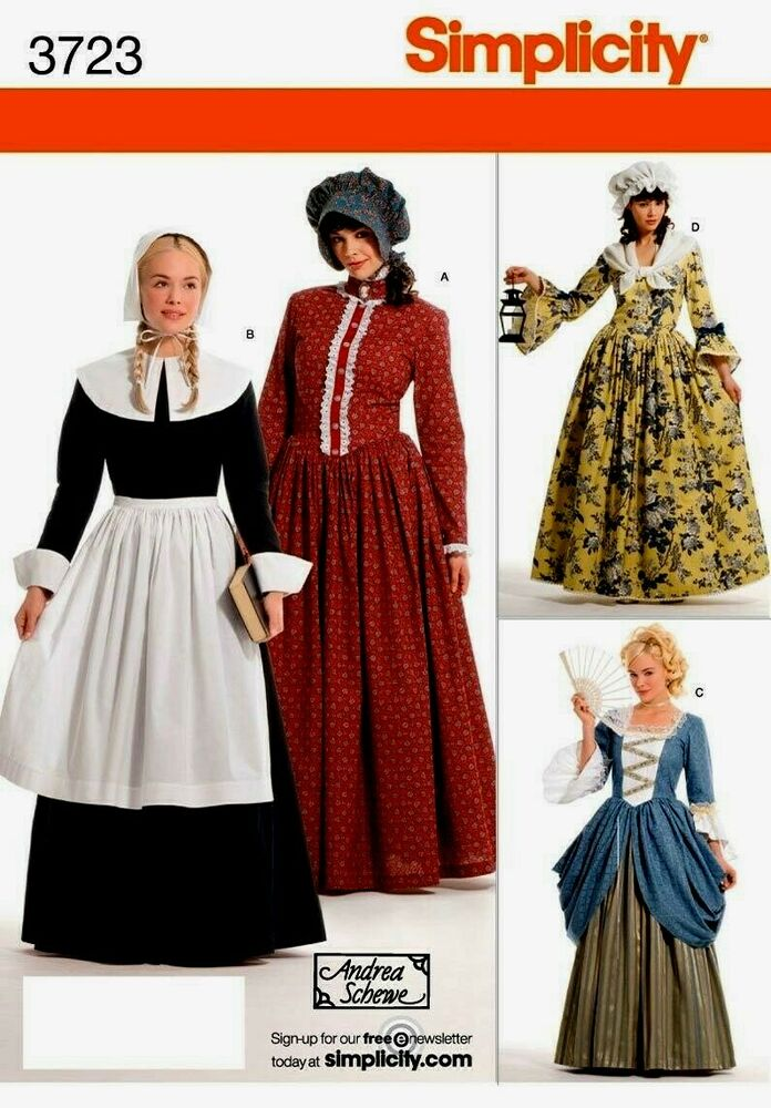 Simplicity 3723 pilgrim colonial dress costume pattern ebay for Colonial hat template