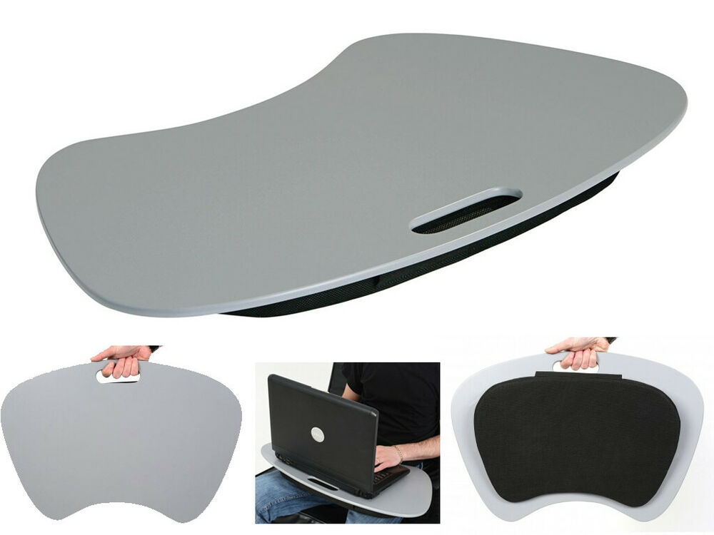 grey laptop tray extra large with padded cushion rest. Black Bedroom Furniture Sets. Home Design Ideas
