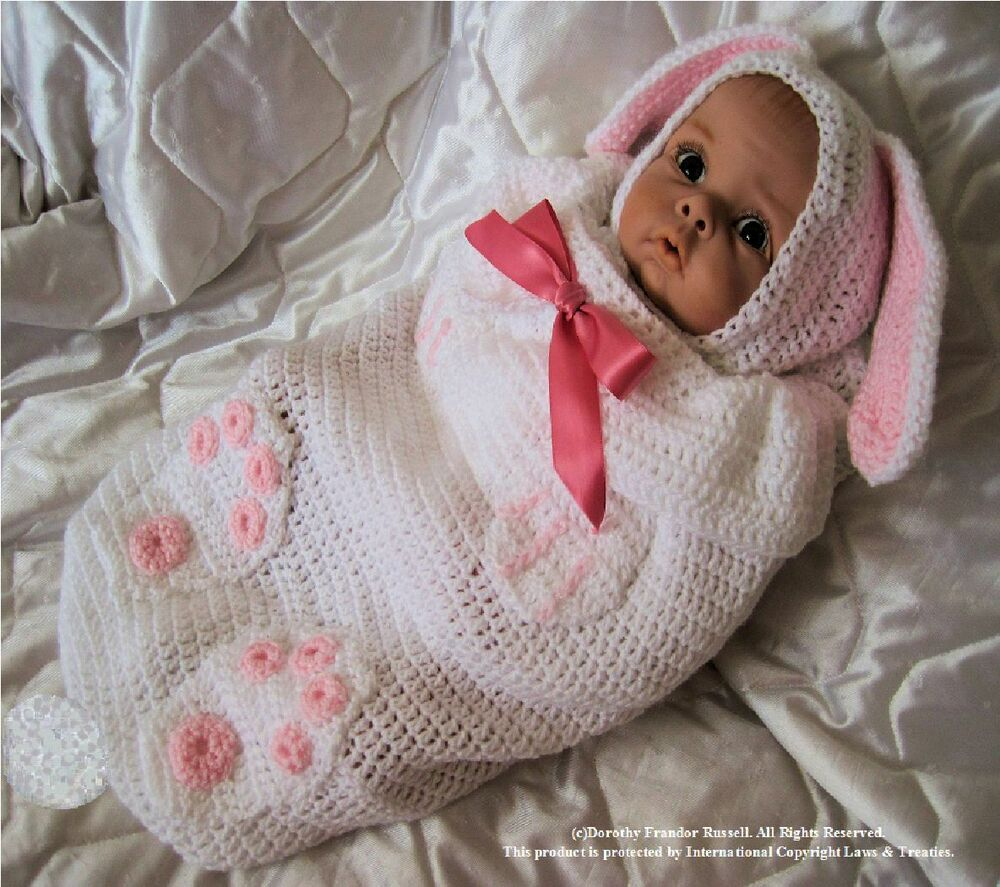 Crochet Pattern For Swaddle Blanket : Crochet pattern Baby/Reborn Swaddle Cuddle:Bunny Babe ...
