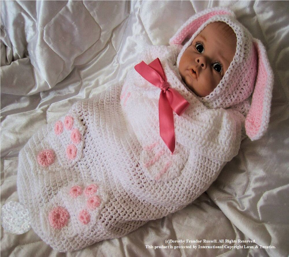 Crochet Pattern For Shell Baby Blanket : Crochet pattern Baby/Reborn Swaddle Cuddle:Bunny Babe ...