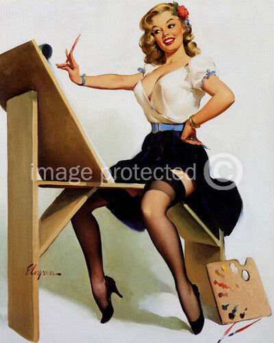 Art Of The Pinup: Right Touch Gil Elvgren Pinup Girl Vintage CANVAS PRINT