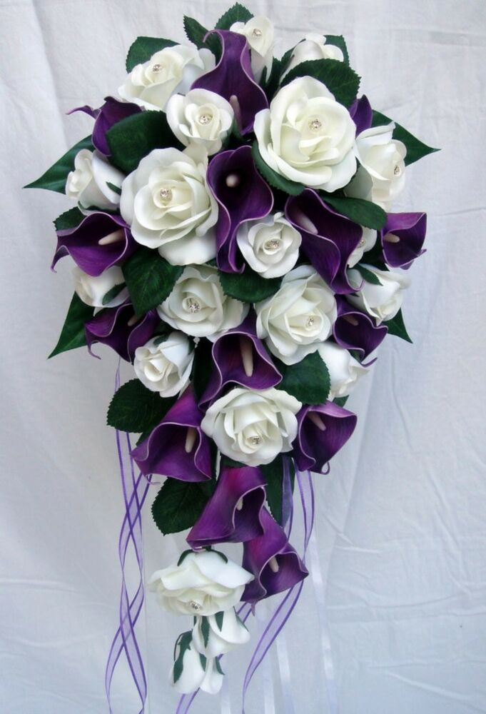 Wedding bouquet purple calla lily roses diamante ebay