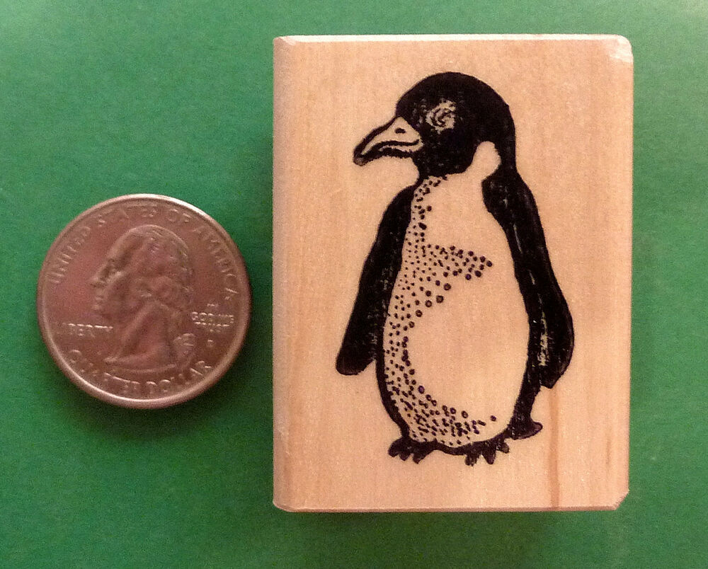 Baby Penguin Wood Mounted Rubber Stamp Ebay