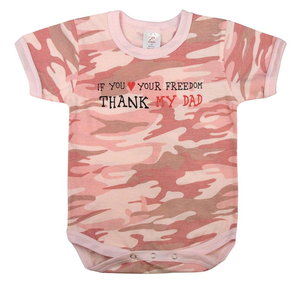 Girl infant baby pink camo thank my dad onesy ebay