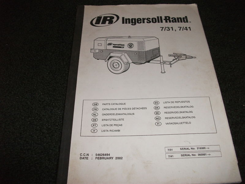 Ingersoll Rand 7 31 7 41 Parts Manual Ebay