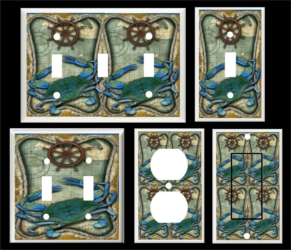 Nautical blue crab 1 light switch or outlet cover ebay for Lighthouse switch plates