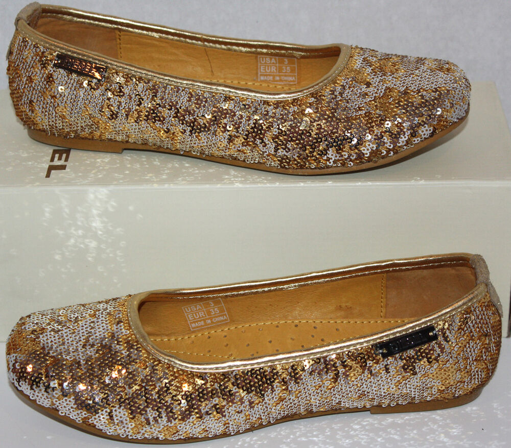 NIB Girls DIESEL Gold Funky Flats Dress Shoes Size 3  eBay