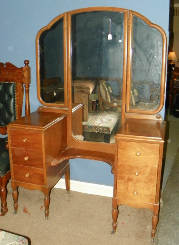 Walnut Vanity Dresser With Mirrors Dr37 Ebay