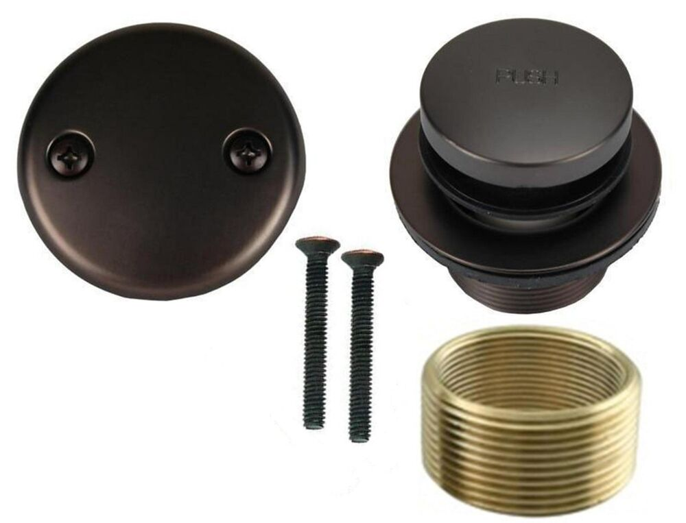 rubbed bronze toe touch bathtub drain bath area tub 85959