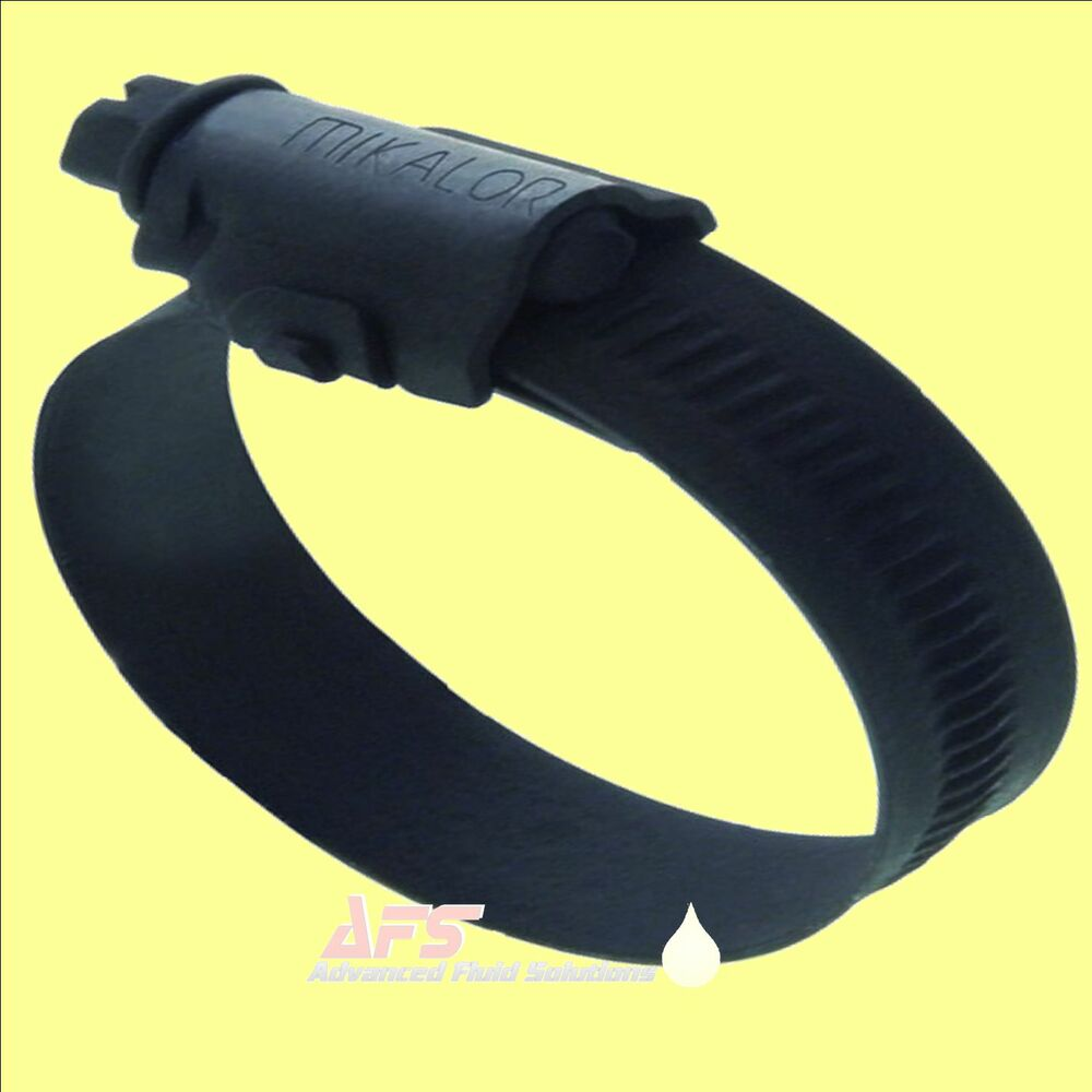 Mikalor black w stainless steel worm drive hose clip ss