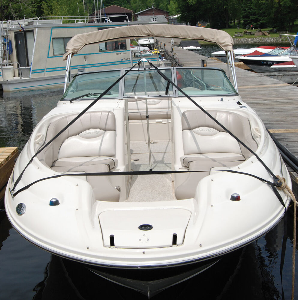 Boat Cover Support Pole System With Straps To Prevent