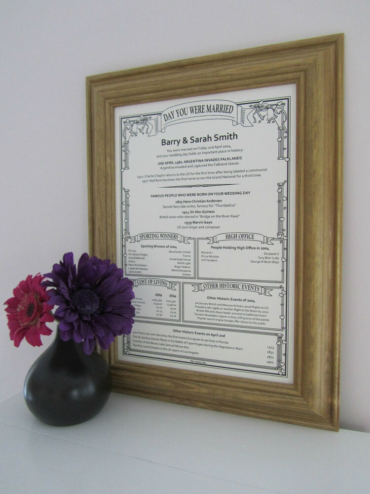 Framed personalised 1st paper wedding anniversary gift ebay for 1st wedding anniversary paper gift ideas
