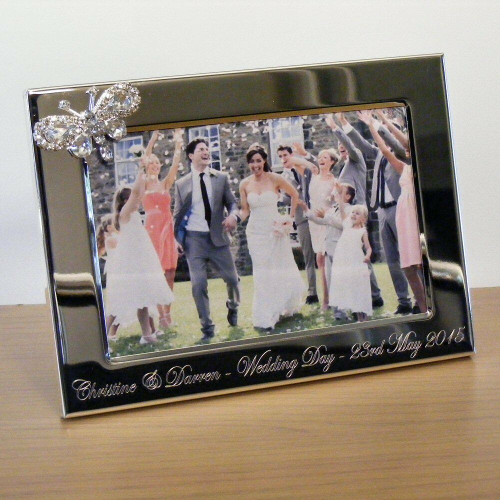 Personalised Wedding Gift Portrait : Personalised Engraved 6x4 Photo Frame Wedding Gift, Crystal Butterfly ...
