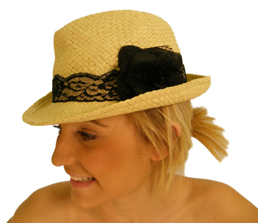 new straw trilby hat with lace detail and bow ebay