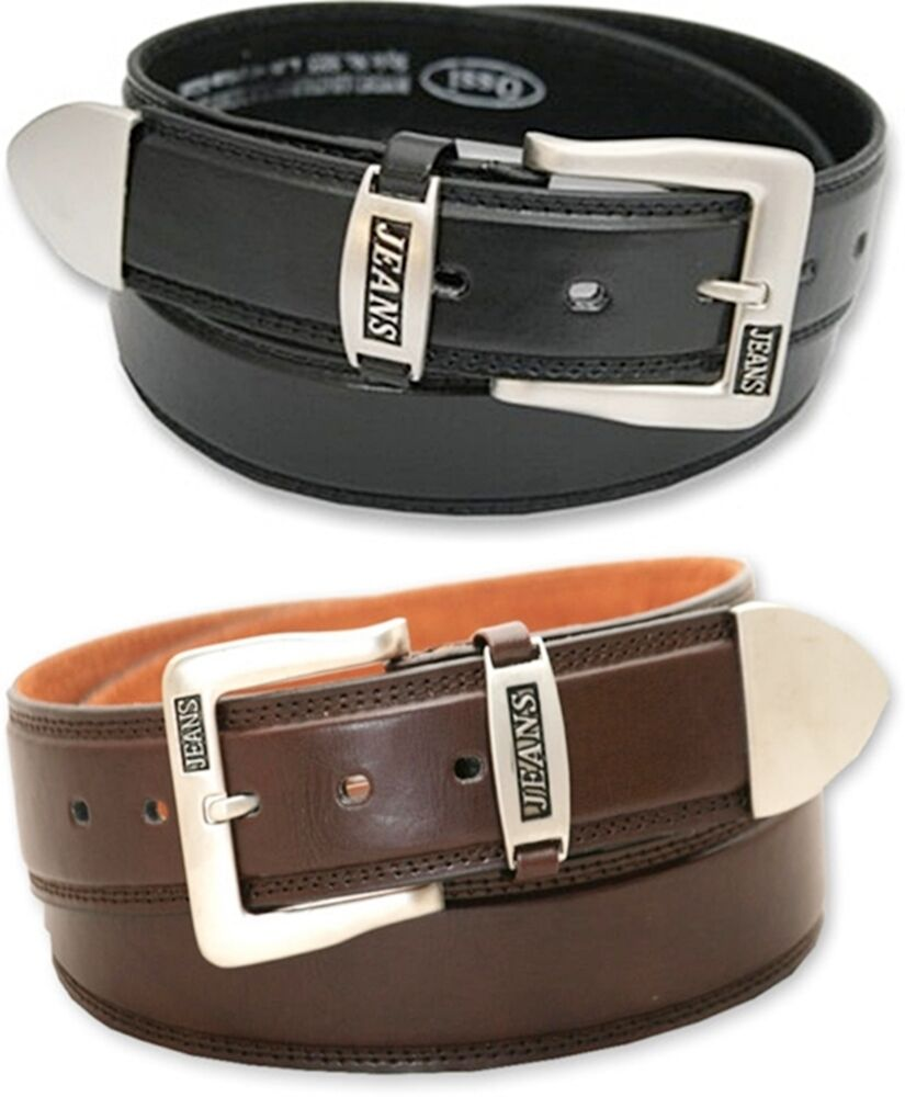 Mens Black or Brown Leather Belt - Smart or Casual Jeans Belt | eBay