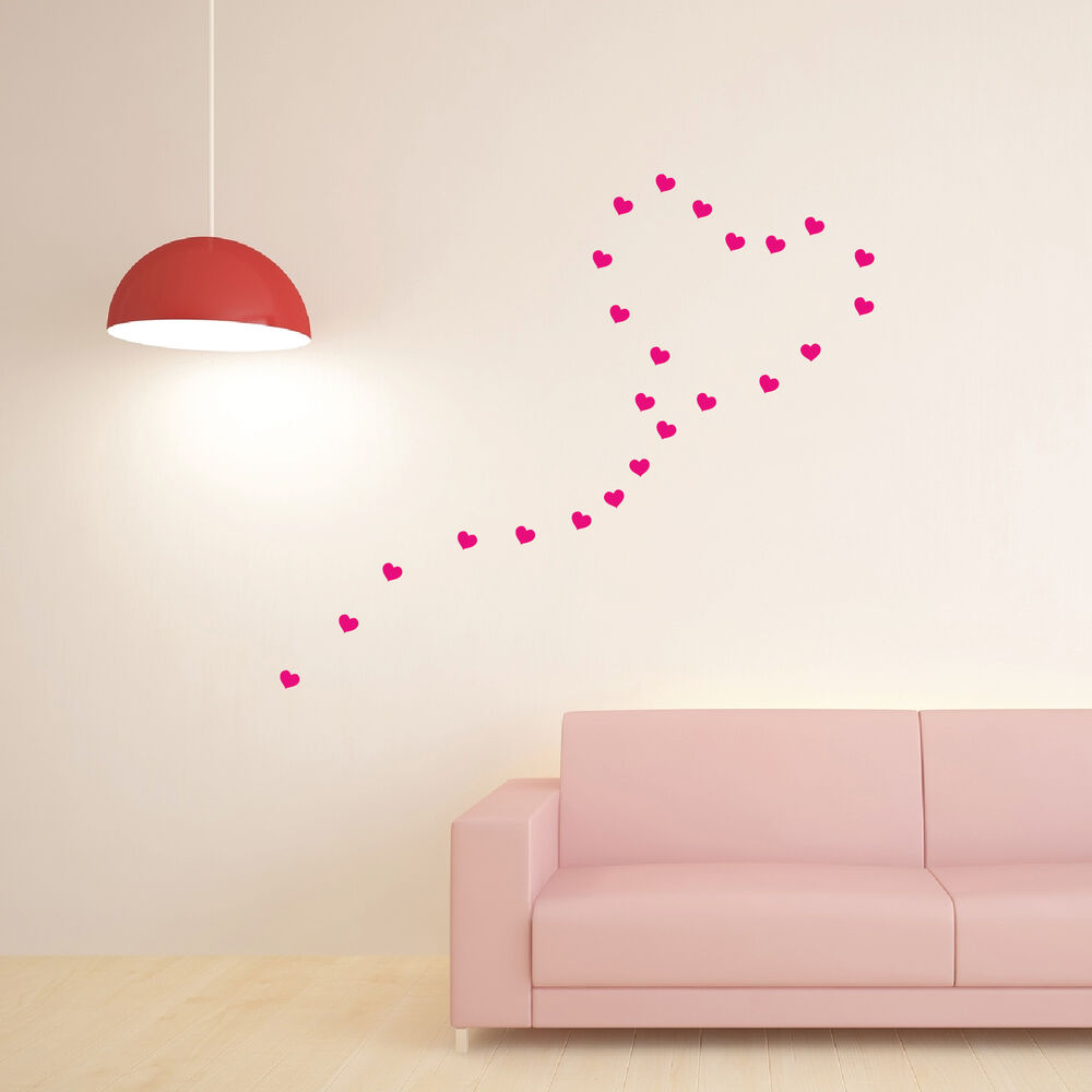 30 hearts high quality wall art stickers wall decals ebay