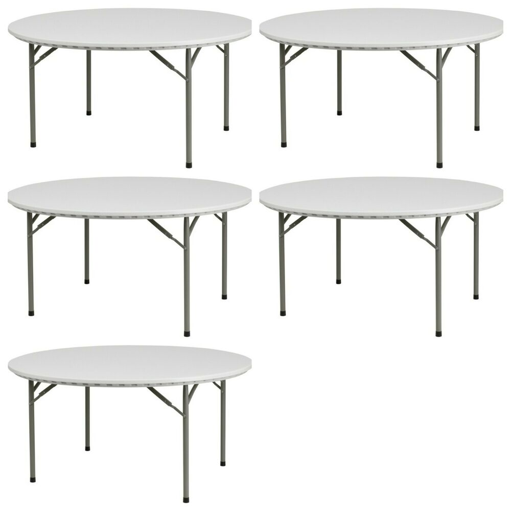 5 Pack 60 Commercial Round Folding Banquet Tables