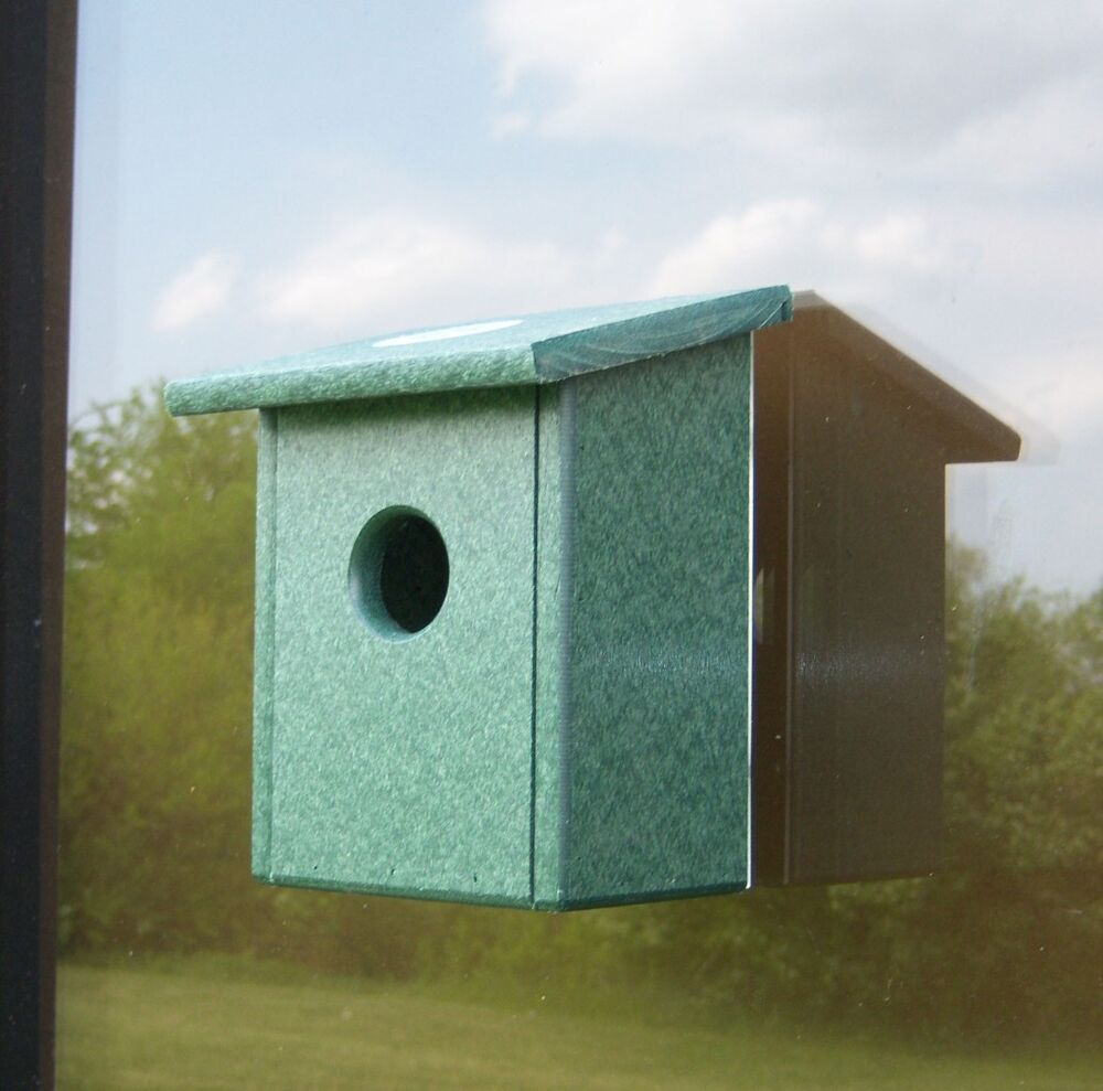 New recycled plastic window mount nest view bird house ebay for Plastic duck house
