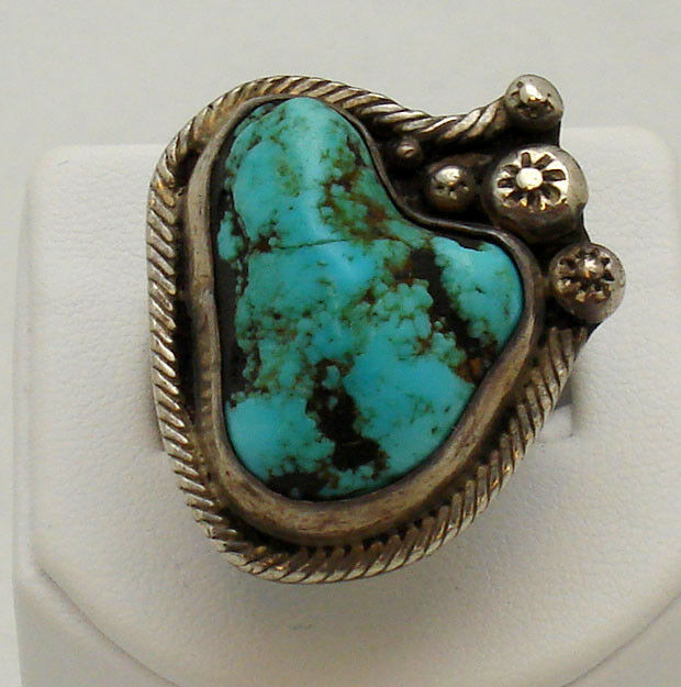 Vintage Navajo Sterling Silver Turquoise Ring Size 9 5 Ebay